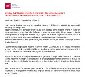 SEŠ Ljubljana_NAVODILA ZA ZAPOSLENE V ZVEZI S PREPREČEVANJEM ŠIRJENJA OKUŽBE COVID